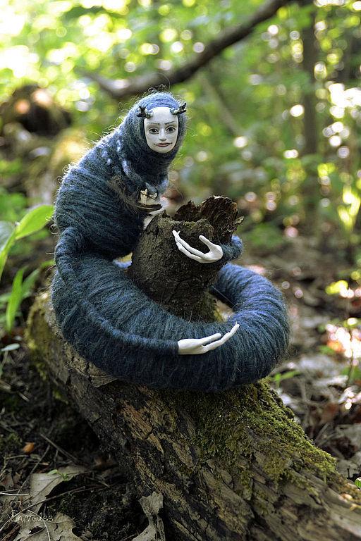 Коллекционные куклы ручной работы. Ярмарка Мастеров - ручная работа. Купить кукла Mordre(Укус). Handmade. Тёмно-синий, существо, лак