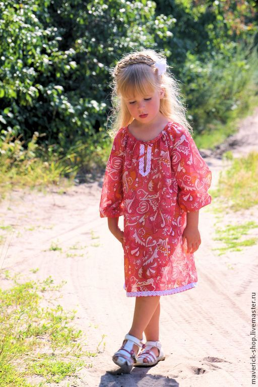 Tunic of lawn for girls 'Pink sunset', Childrens tunic, Moscow,  Фото №1