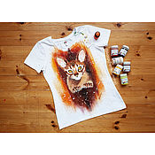 Одежда handmade. Livemaster - original item T-shirt with hand-painted Abyssinian cat. Handmade.