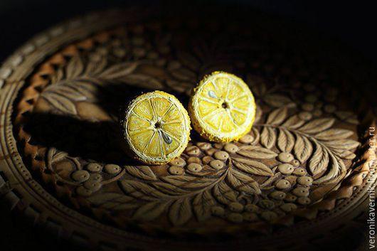 """Серьги ручной работы. Ярмарка Мастеров - ручная работа. Купить """"Лимончик"""". Handmade. Разноцветный, полимерная глина, желтый цвет"""