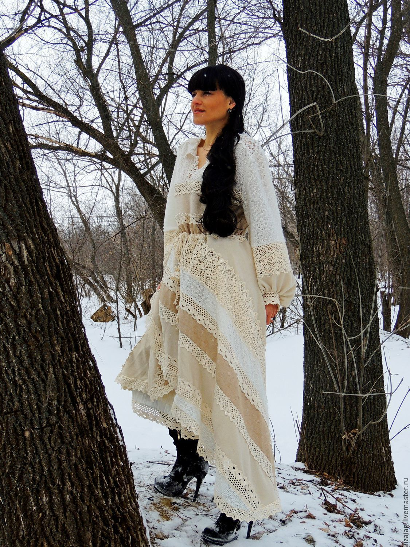 c0891f6e0f5eb Ярмарка Мастеров - ручная работа. Купить Платье зимнее в стиле БОХО Платья  ручной работы. Платье зимнее в стиле БОХО (35).