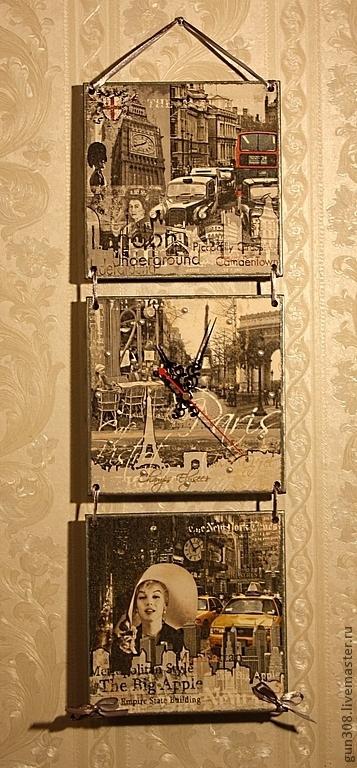 """Часы для дома ручной работы. Ярмарка Мастеров - ручная работа. Купить Часы-панно настенные """"Лондон-Париж-Нью-Йорк"""". Handmade."""