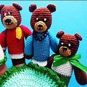 """Куклы и игрушки ручной работы. Ярмарка Мастеров - ручная работа Пальчиковый театр""""Маша и три медведя"""". Handmade."""