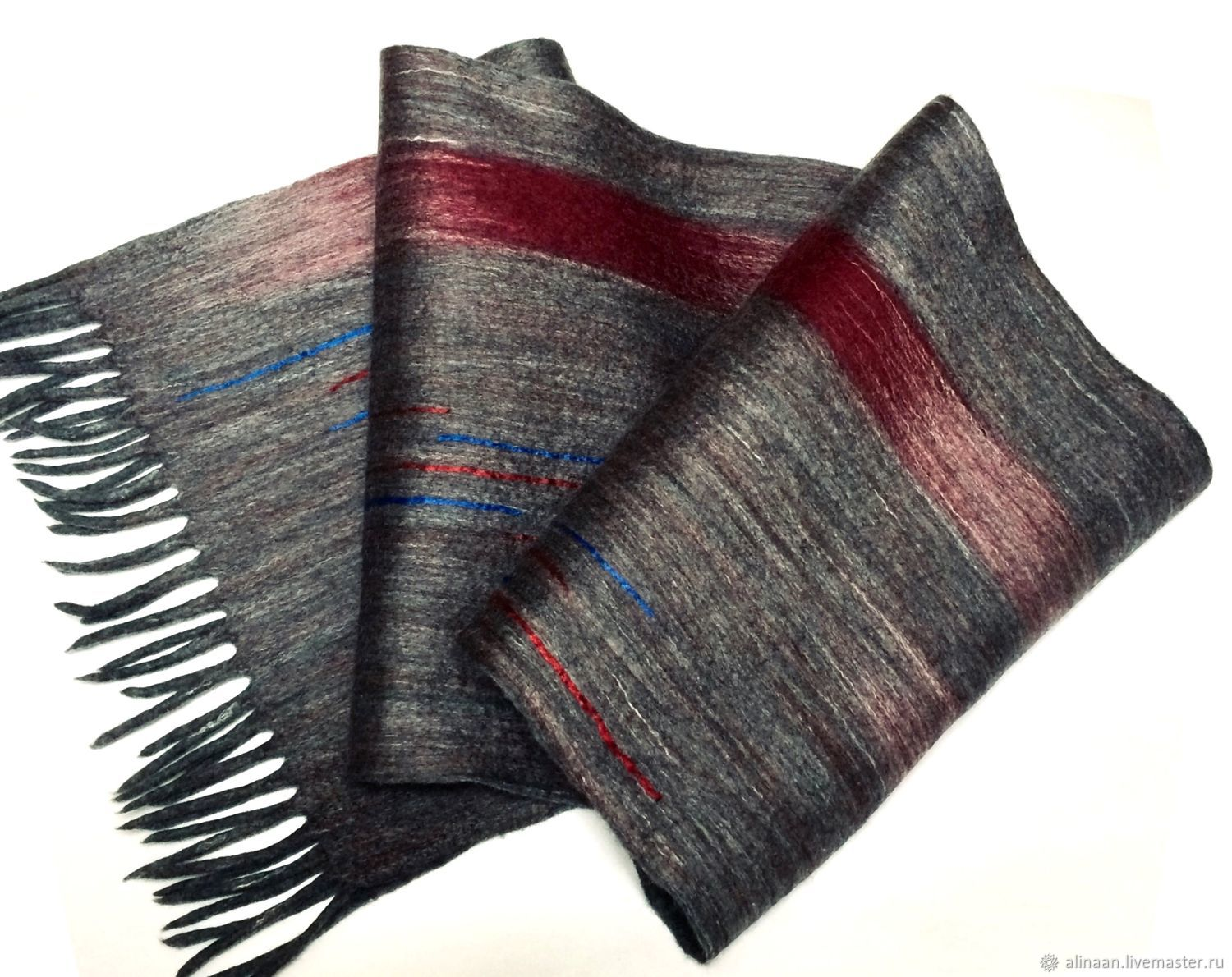 Felted scarf men's 'Bordeaux', Scarves, Moscow,  Фото №1