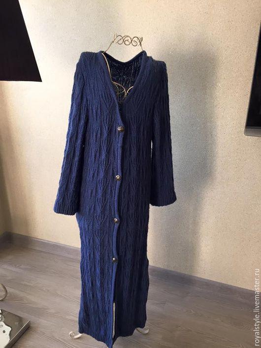 Одежда. Ярмарка Мастеров - ручная работа. Купить Дизайнерское вязаное пальто. Ручная работа. Handmade. Синий, пальто вязаное