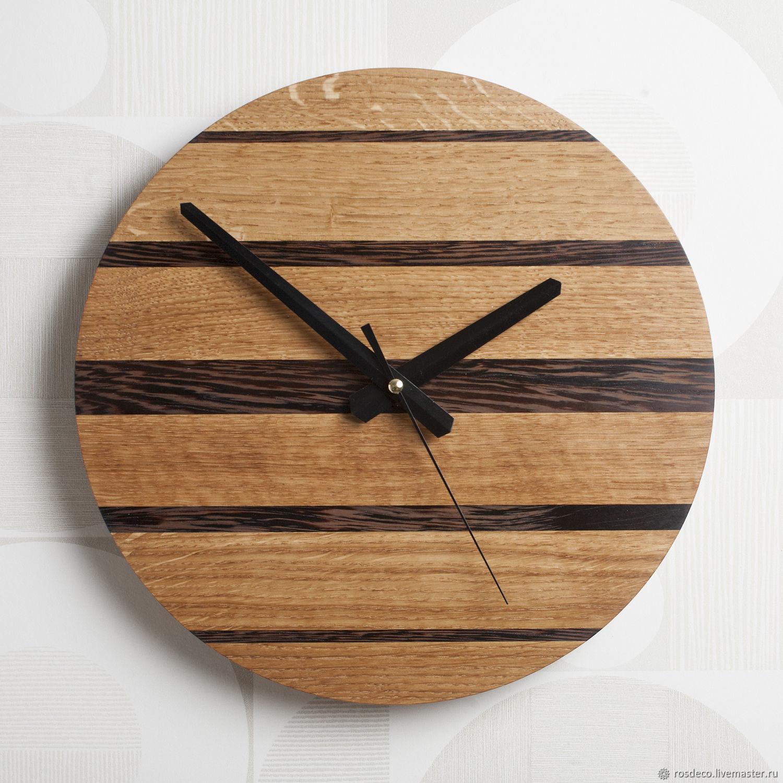 Часы настенные деревянные круглые из дуба и венге, Часы классические, Раменское,  Фото №1