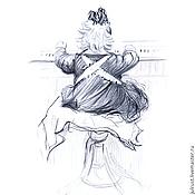 Картины и панно ручной работы. Ярмарка Мастеров - ручная работа Картина Чижик-Пыжик! рисунок карандашом графика серый белый. Handmade.