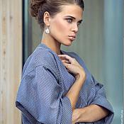 Одежда ручной работы. Ярмарка Мастеров - ручная работа Элегантное пальто  оверсайз из синего жаккарда. Handmade.