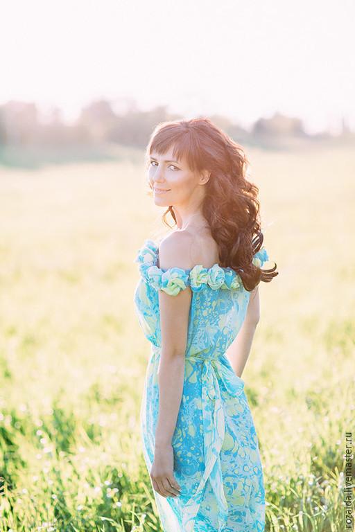 Платья ручной работы. Ярмарка Мастеров - ручная работа. Купить платье из хлопка и шелка Послание Ван Гогу. Handmade. Синий