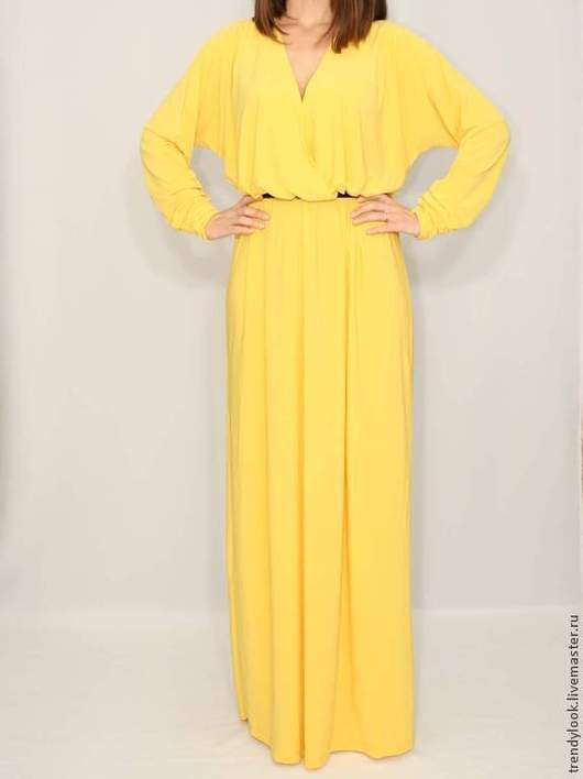 Платья ручной работы. Ярмарка Мастеров - ручная работа. Купить Желтое платье в пол, длинный рукав летучая мышь. Handmade.