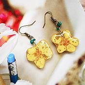 """Украшения ручной работы. Ярмарка Мастеров - ручная работа Серьги """"Солнцецвет"""" из настоящих цветов. Handmade."""