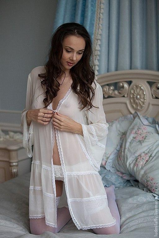 Как ночь нежна - пеньюар с рюшами и кружевом. Эксклюзивное белье от Милы Маниной. Пеньюар для утра невесты.