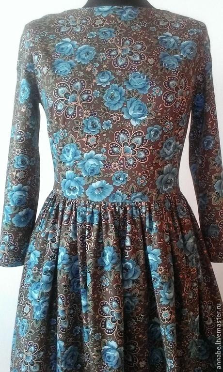 Платья ручной работы. Ярмарка Мастеров - ручная работа. Купить Платье Midi Rose Хлопок 100%. Handmade. Коричневый