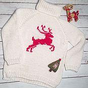 Одежда ручной работы. Ярмарка Мастеров - ручная работа Свитер белый с оленем. Handmade.