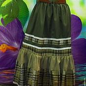 Одежда ручной работы. Ярмарка Мастеров - ручная работа Юбка-бохо на резинке,размер универсальный,длинная,ярусная,миди. Handmade.