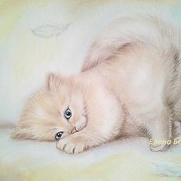 """Картины и панно ручной работы. Ярмарка Мастеров - ручная работа Картина """" Как перышко."""" ) кот в спальню пастель нежный бежевый. Handmade."""