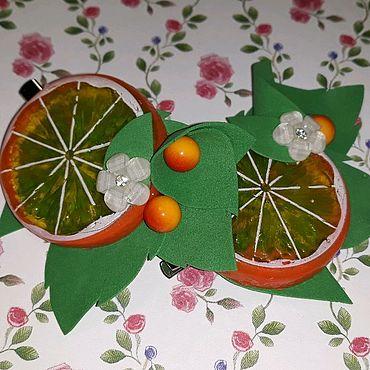 """Украшения ручной работы. Ярмарка Мастеров - ручная работа """"Апельсинки"""" на зажимах. Handmade."""
