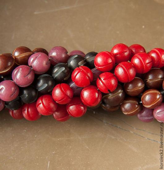 Для украшений ручной работы. Ярмарка Мастеров - ручная работа. Купить Резные бусины из семян пальмы Buri, 10 мм. Handmade.