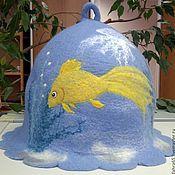 """Для дома и интерьера ручной работы. Ярмарка Мастеров - ручная работа Банная шапка """"Золотая рыбка"""". Handmade."""