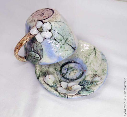 """Кружки и чашки ручной работы. Ярмарка Мастеров - ручная работа. Купить Кофейная пара """"Яблоневый цвет"""". Handmade. Комбинированный, травы"""