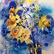 Картины и панно ручной работы. Ярмарка Мастеров - ручная работа Акварель весенняя ночь. Handmade.