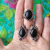 Украшения handmade. Livemaster - original item @ Jewelry set with natural stones, brass, silver plated. Handmade.