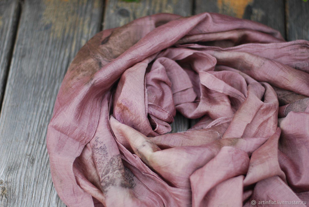 Cotton stole 'Cappuccino and dusty rose' ekoprint, Scarves, Moscow,  Фото №1