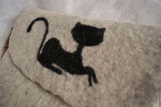 """Женские сумки ручной работы. Ярмарка Мастеров - ручная работа. Купить Сумка """"Черная кошка 2"""" валяная из шерсти. Handmade."""
