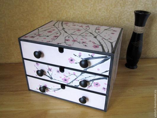 """Мебель ручной работы. Ярмарка Мастеров - ручная работа. Купить Комод   """"Сакура цветёт"""". Handmade. Комод, шкатулка для мелочей, дорисовка"""
