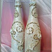 """Свадебный салон ручной работы. Ярмарка Мастеров - ручная работа Декор свадебных бутылок  """"Нежность"""". Handmade."""