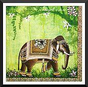 Материалы для творчества ручной работы. Ярмарка Мастеров - ручная работа ост 3 шт  Салфетка Индийский слон. Handmade.