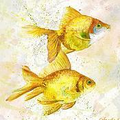 """Картины и панно ручной работы. Ярмарка Мастеров - ручная работа """"Золотые рыбки III"""" картина рыбки, авторская печать Soboleva Art. Handmade."""