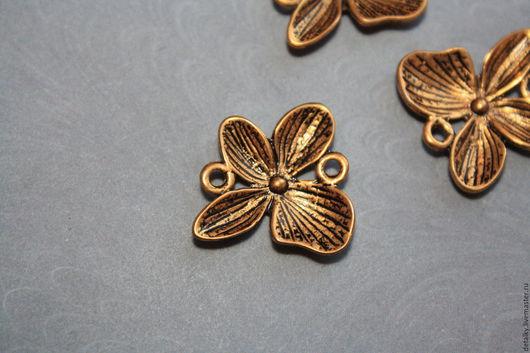 Для украшений ручной работы. Ярмарка Мастеров - ручная работа. Купить Коннекторы античное золото, античная медь цветок  15 мм. Handmade.