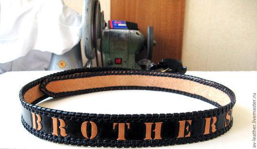 Пояса, ремни ручной работы. Ярмарка Мастеров - ручная работа. Купить Кожаный ремень с любой надписью. Handmade. Черный