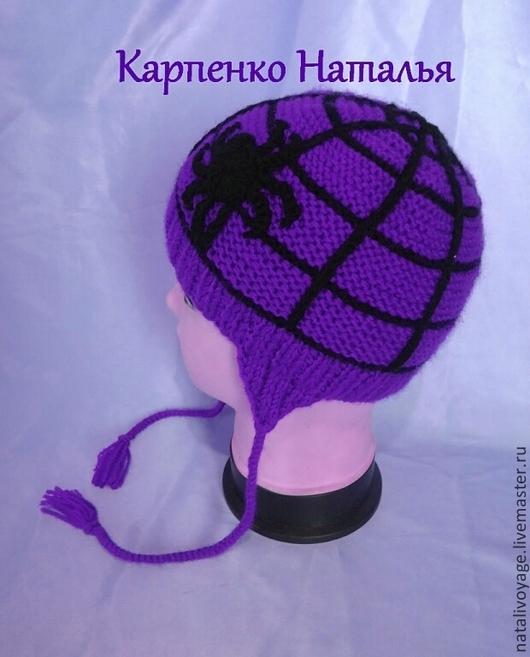 """Шапки и шарфы ручной работы. Ярмарка Мастеров - ручная работа. Купить шапка """"паук""""  для мальчика. Handmade. В клеточку"""