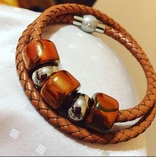 Браслеты ручной работы. Ярмарка Мастеров - ручная работа. Купить Женский браслет. Handmade. Керамические бусины, кожа, женщине, для девушки