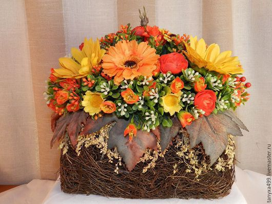 Интерьерные композиции ручной работы. Ярмарка Мастеров - ручная работа. Купить Осень. Handmade. Оранжевый, подарок, цветы, полимерная глина