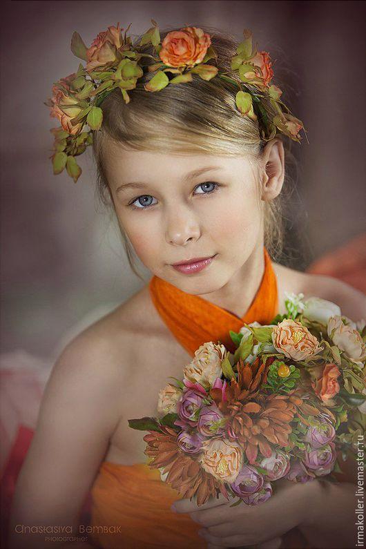 """Диадемы, обручи ручной работы. Ярмарка Мастеров - ручная работа. Купить Ободок """"Поцелуй ЛюсИ"""". Handmade. Оранжевый, цветы, фоамиран"""