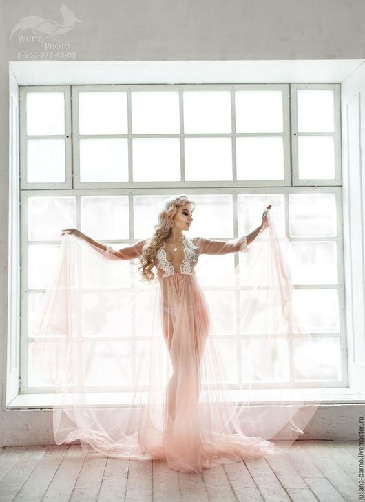Халаты ручной работы. Ярмарка Мастеров - ручная работа. Купить Будуарное платье PINK ROMANTICA. Handmade. Однотонный, бледно-розовый