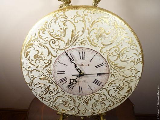 Часы для дома ручной работы. Ярмарка Мастеров - ручная работа. Купить Настенные часы Вальс в белом Рококо. Handmade. Белый