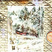 Картины и панно handmade. Livemaster - original item Winter Express - painting with watercolors. Handmade.