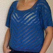 Одежда ручной работы. Ярмарка Мастеров - ручная работа Хлопковый  пуловер цвета индиго. Handmade.