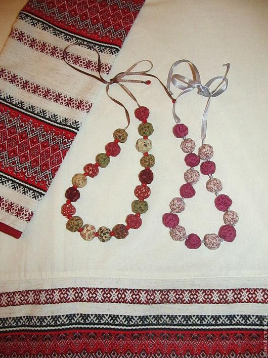 Колье, бусы ручной работы. Ярмарка Мастеров - ручная работа. Купить Текстильные бусы. Handmade. Разноцветный, текстильные бусы, хлопок