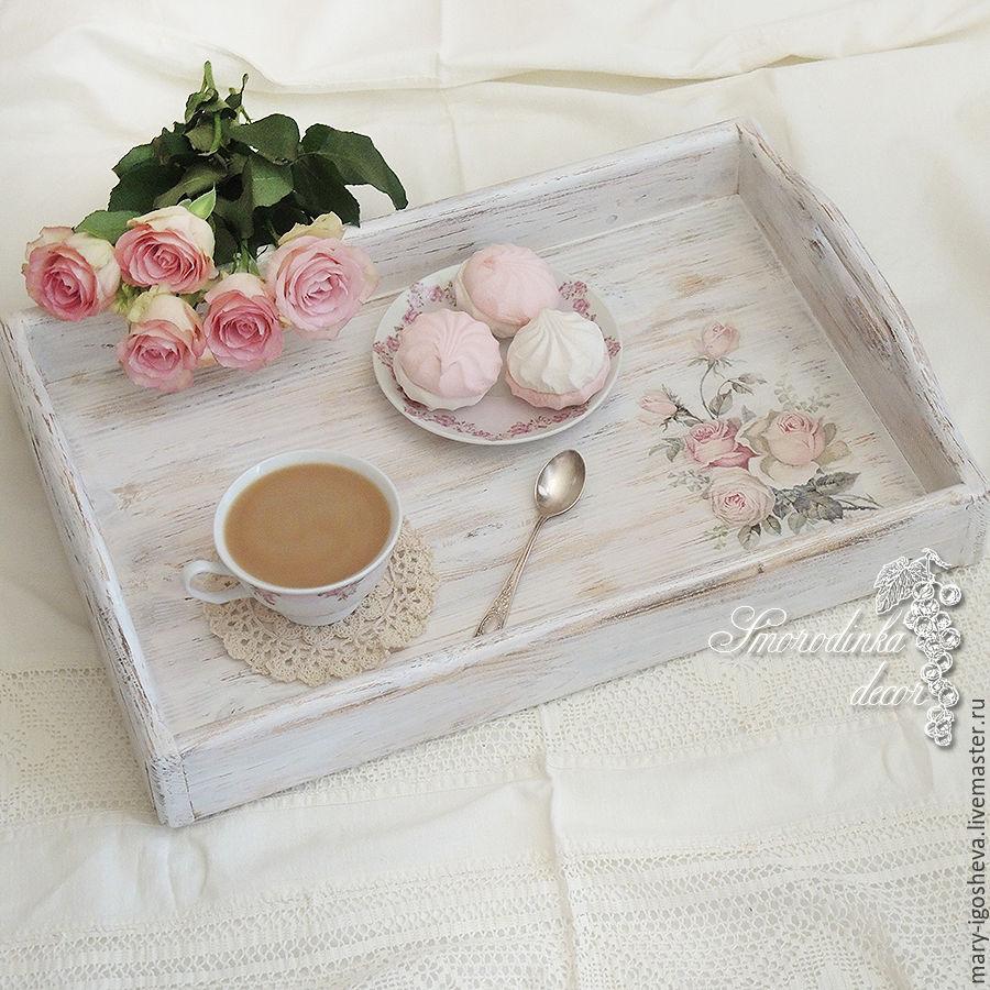 Поднос деревянный Нежные розы (maxi), Подносы, Пермь, Фото №1