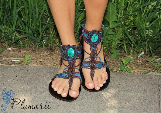 Обувь ручной работы. Ярмарка Мастеров - ручная работа. Купить Magiс shoes - макраме бохо обувь с тибетской бирюзой. Handmade.