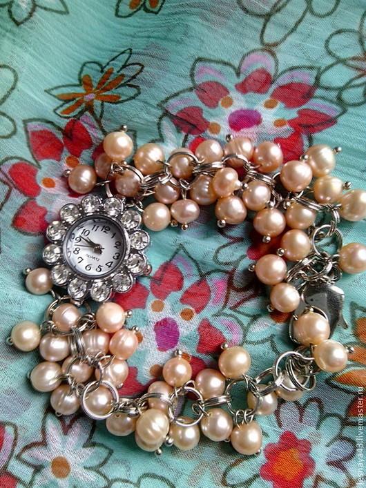 Часы ручной работы. Ярмарка Мастеров - ручная работа. Купить Часы-браслет из розового жемчуга. Handmade. Розовый, розовый жемчуг