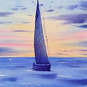 handmade. Livemaster - original item Watercolor sea Painting sea yacht ship steam small seascape. Handmade.