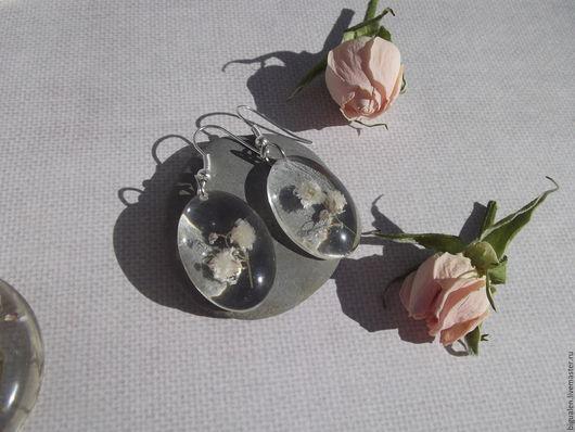 Серьги ручной работы. Ярмарка Мастеров - ручная работа. Купить Серьги с белыми цветочками гипсофилы. Handmade. Белый, сухоцветы