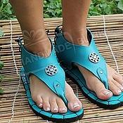 Обувь ручной работы handmade. Livemaster - original item sandals low of textured turquoise leather. Handmade.