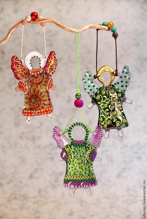 Новый год 2017 ручной работы. Ярмарка Мастеров - ручная работа. Купить Ангелочки, фьюзинг, витражная роспись. Handmade. Ангелочки